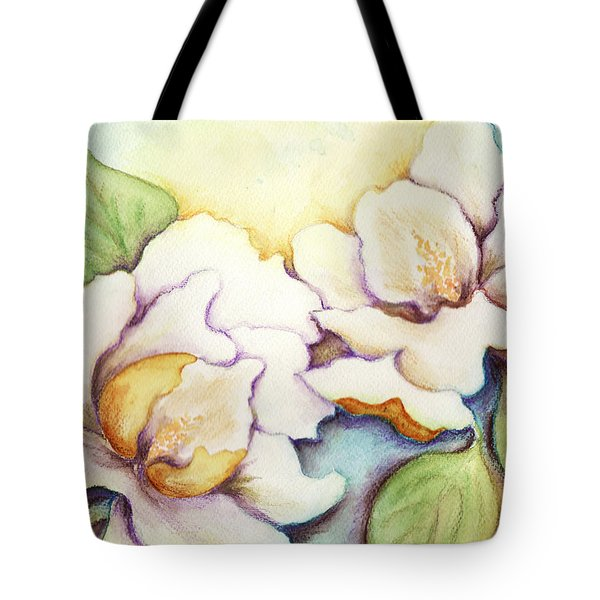Two Magnolia Blossoms Tote Bag by Carla Parris