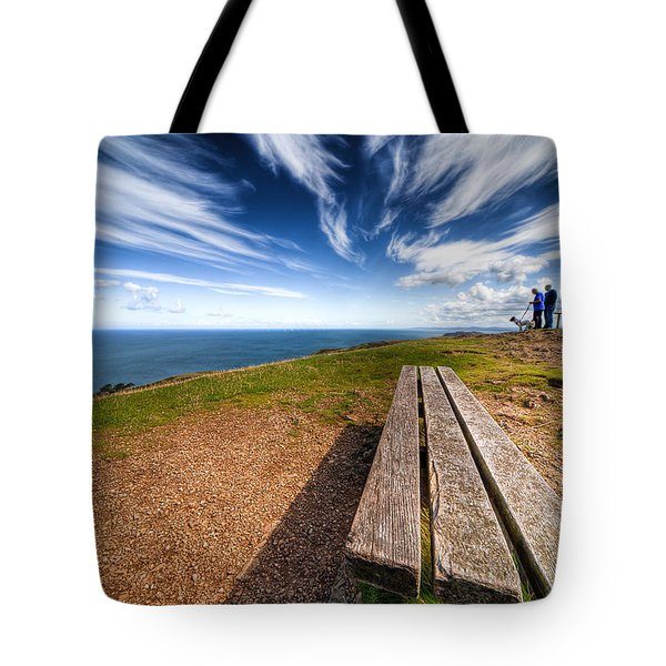 Two Men And A Dog Tote Bag by Adrian Evans