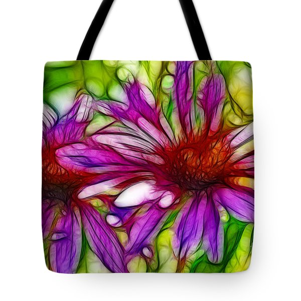 Two Purple Daisy's Fractal Tote Bag