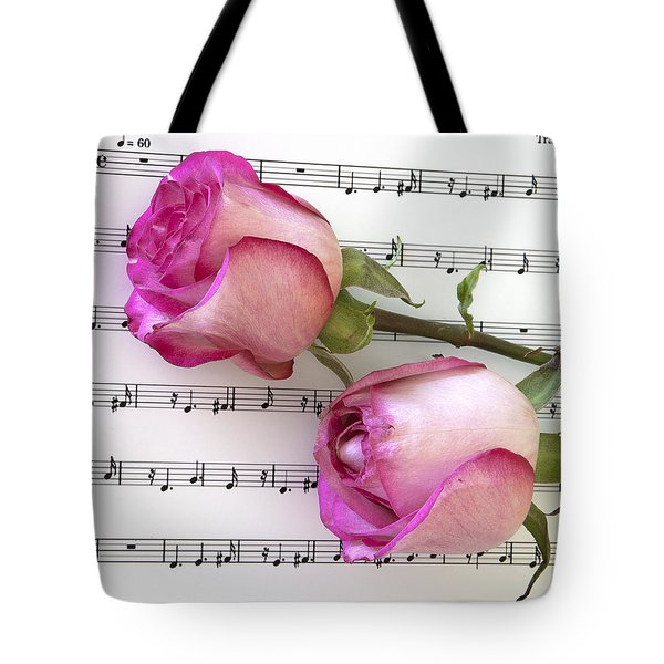Two Red Roses And Wine Tote Bag
