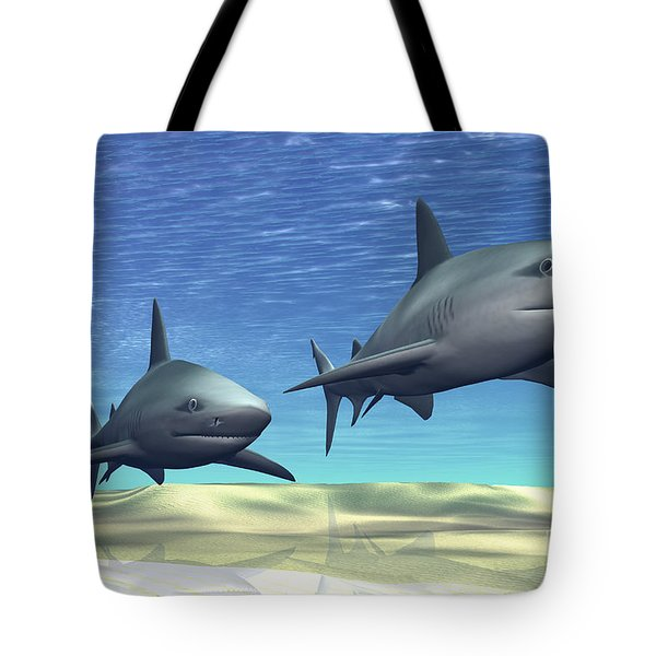 Two Sharks On Patrol Over A Sandy Reef Tote Bag by Corey Ford