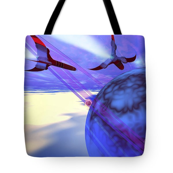 Two Spacecraft Fly Back To Their Home Tote Bag by Corey Ford