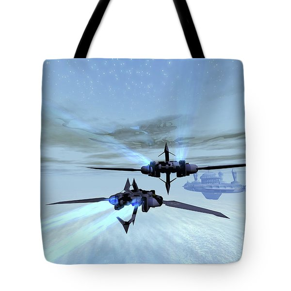 Two Spacecraft Fly Back To Their Space Tote Bag by Corey Ford