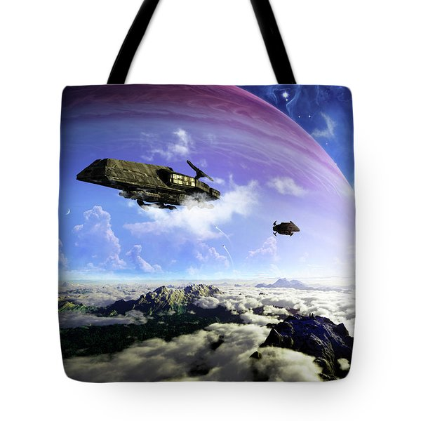 Two Spacecraft Prepare To Depart Tote Bag by Brian Christensen