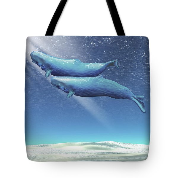 Two Sperm Whales Near The Surface Tote Bag by Corey Ford