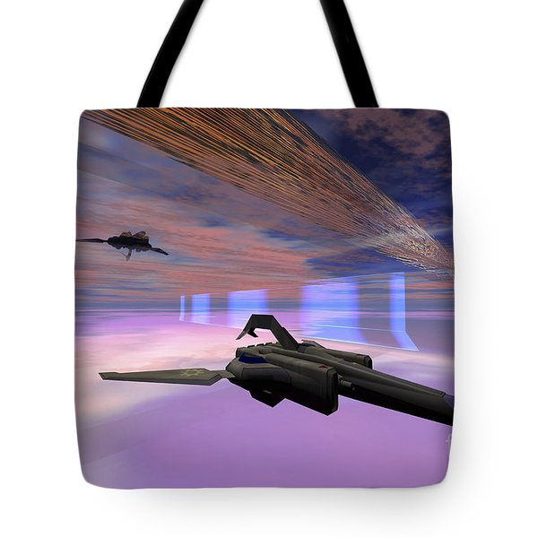 Two Starships Warp Along Space Enegy Tote Bag by Corey Ford