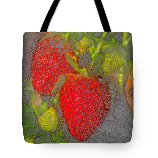 Two Strawberries Tote Bag by David Lee Thompson