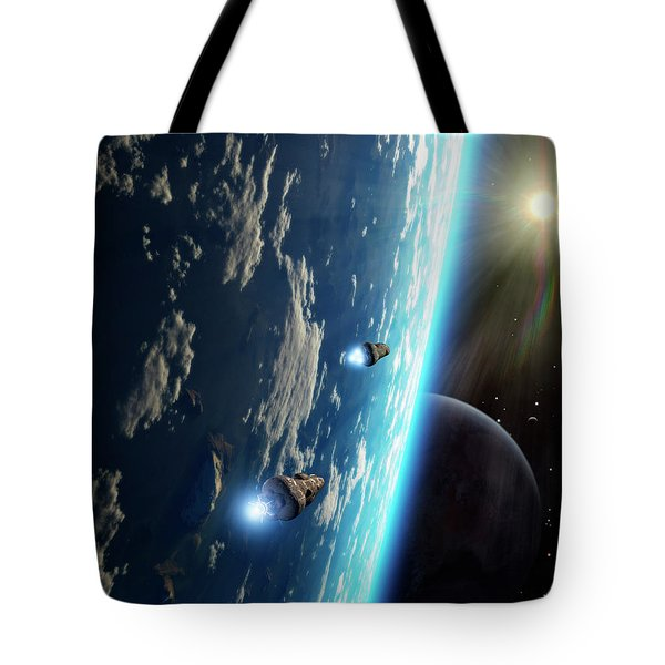 Two Survey Craft Orbit A Terrestrial Tote Bag by Brian Christensen