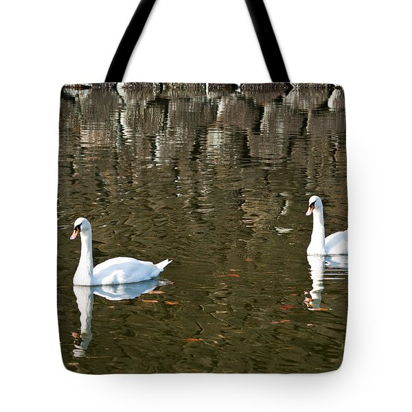 Two Swan Floating On A Pond  Tote Bag by U Schade