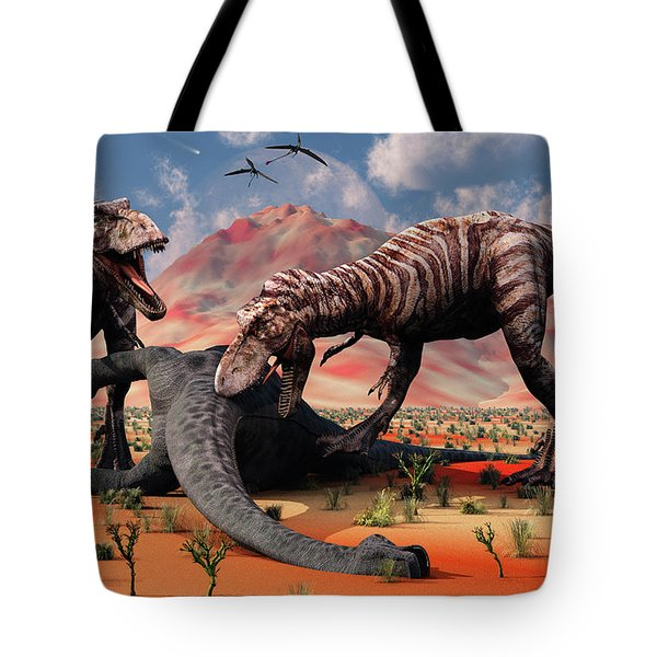 Two T. Rex Dinosaurs Feed Tote Bag by Mark Stevenson
