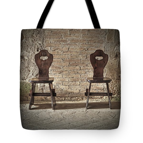 Two Wooden Chairs Tote Bag by Joana Kruse