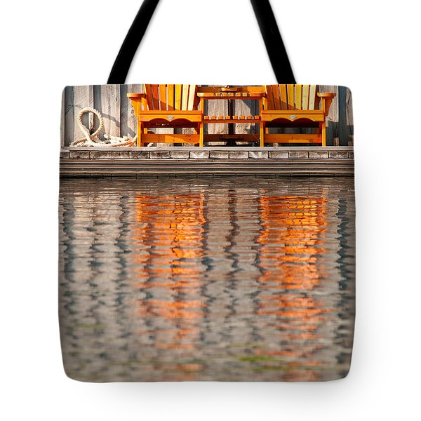 Tote Bag featuring the photograph Two Wooden Chairs by Les Palenik