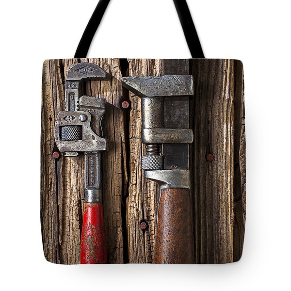 Two Wrenches Tote Bag by Garry Gay