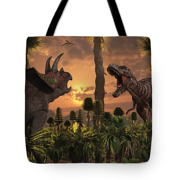 Tyrannosaurus Rex And Triceratops Meet Tote Bag by Mark Stevenson