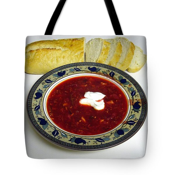 Ukrainian Borsch With Sour Cream Tote Bag by Jim Sauchyn
