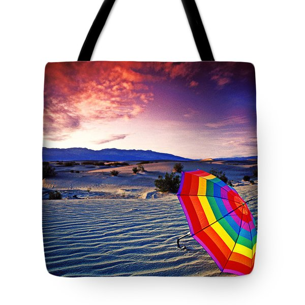 Umbrella On Desert Sands Tote Bag by Garry Gay