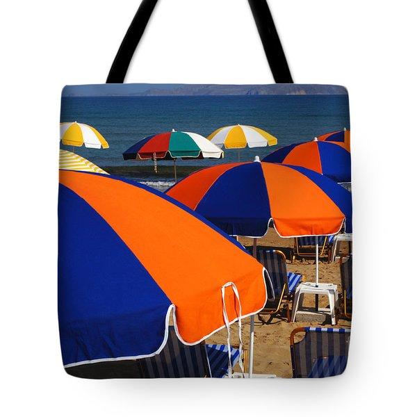 Umbrellas Of Crete Tote Bag by Bob Christopher