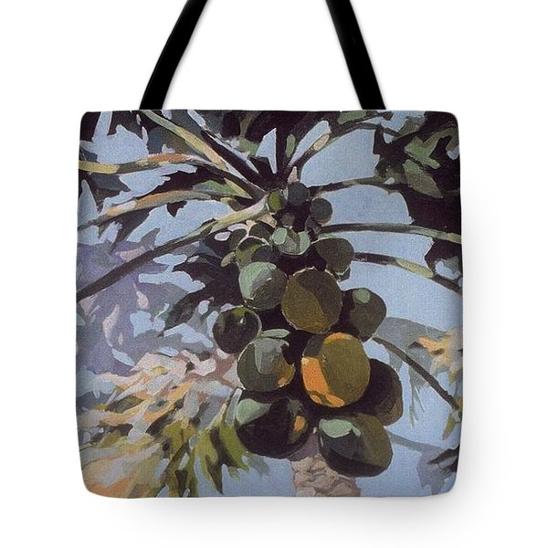 Under Papaya Tree Tote Bag by Andrew Drozdowicz
