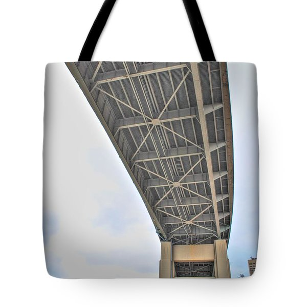 Tote Bag featuring the photograph Under The Skyway by Michael Frank Jr