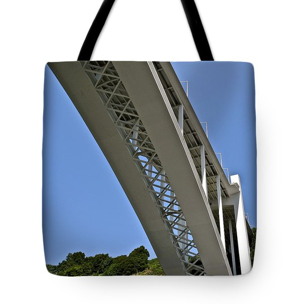 Tote Bag featuring the photograph Underside Of Beautiful Bridge by Kirsten Giving