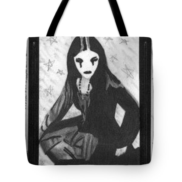 Tote Bag featuring the drawing Unholy Trio - Goth Girls - Aceo by Ana Tirolese