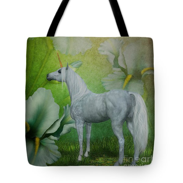 Unicorn And Lilies Tote Bag by Smilin Eyes  Treasures