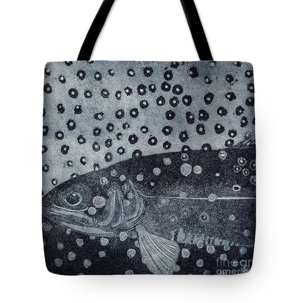 Unique Etching Artwork - Brown Trout  - Trout Waters - Trout Brook - Engraving Tote Bag