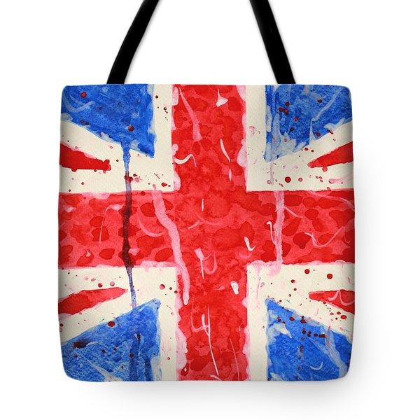 United Kingdom Flag Watercolor Painting Tote Bag by Georgeta  Blanaru