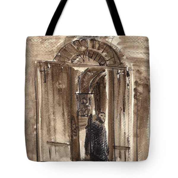 Uno Negozio In Siena Watercolor And Conte Crayon Tote Bag