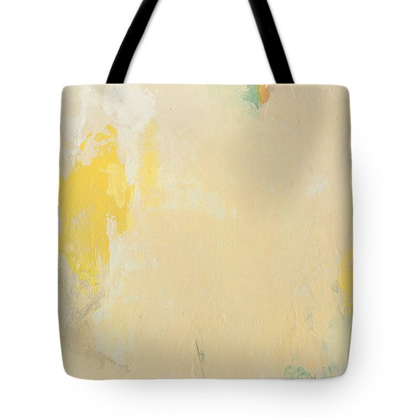 Untitled Abstract - Bisque With Yellow Tote Bag by Kathleen Grace