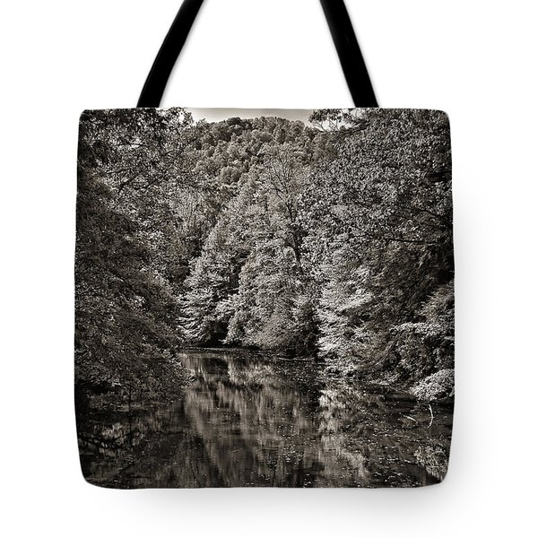 Up The Lazy River Monochrome Tote Bag by Steve Harrington