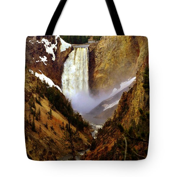 Upper Yellowstone Falls Tote Bag by Ellen Heaverlo