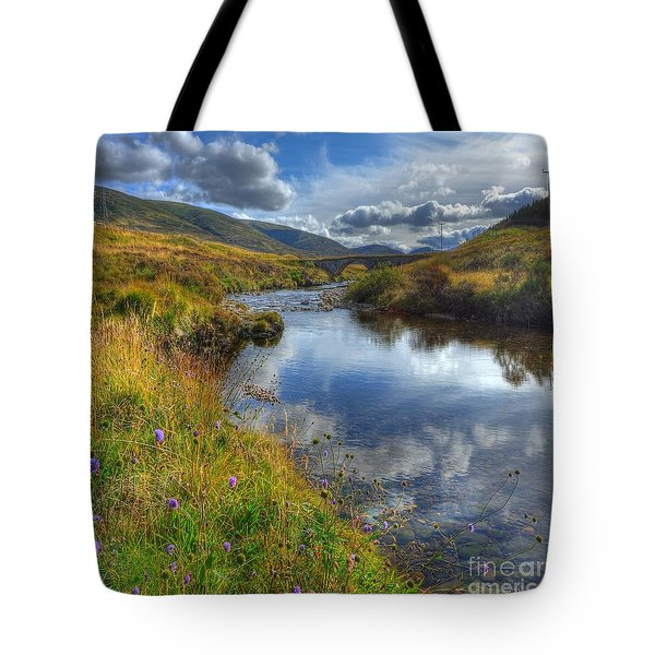 Upstream To The Bridge Tote Bag by John Kelly