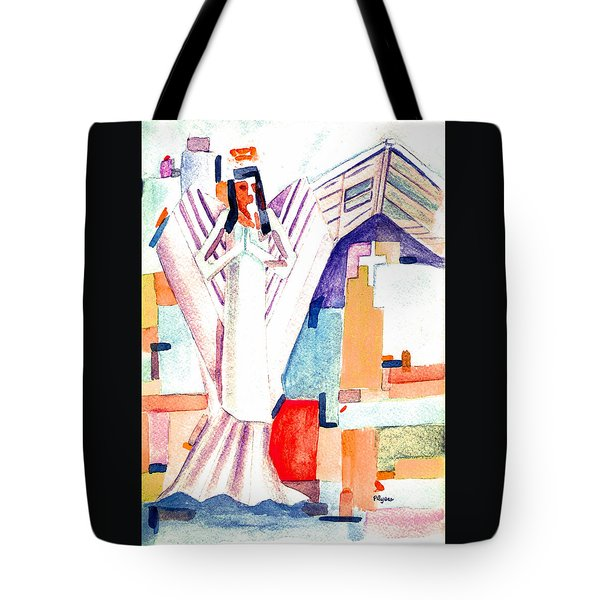 Tote Bag featuring the painting Urban Angel Of Light by Paula Ayers