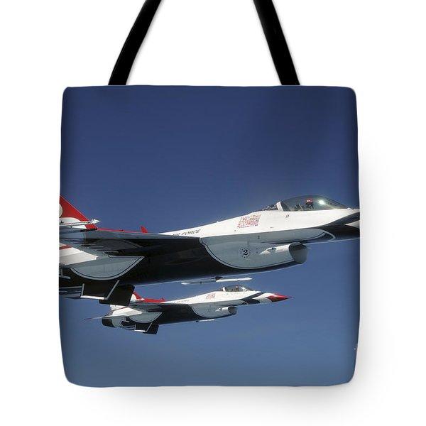 U.s. Air Force F-16 Thunderbirds Tote Bag by Stocktrek Images