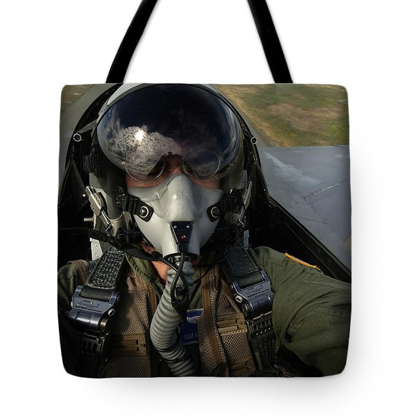 U.s. Air Force Pilot Looking For Nearby Tote Bag by Stocktrek Images