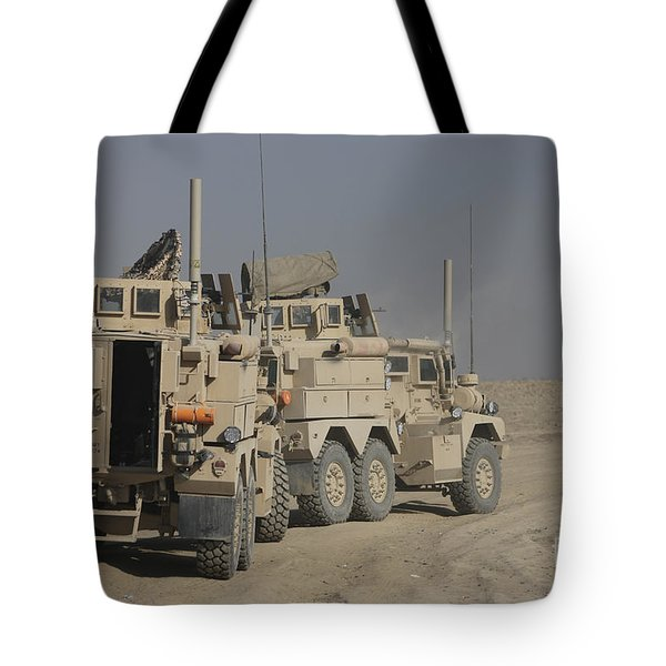 U.s. Army Cougar Mrap Vehicles Tote Bag by Terry Moore