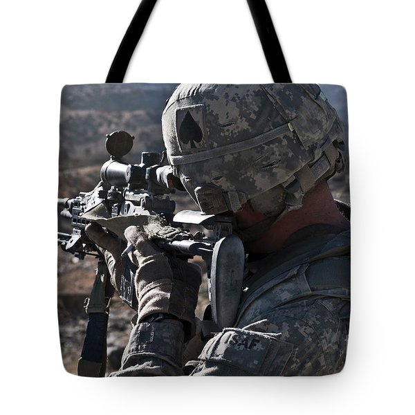 U.s. Army Sniper Scans A Village Tote Bag