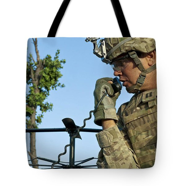 U.s. Army Soldier Calls For Indirect Tote Bag by Stocktrek Images