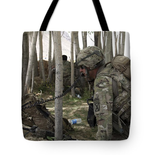 U.s. Army Soldier Communicates Possible Tote Bag by Stocktrek Images