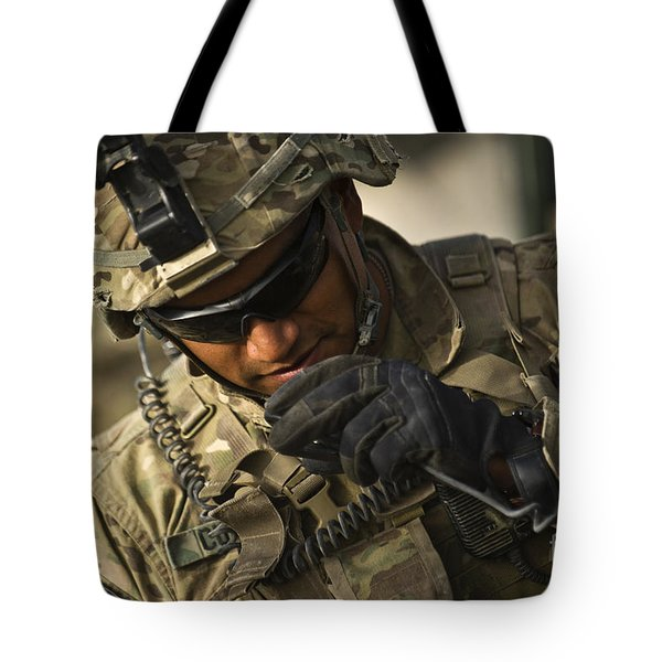 U.s. Army Soldier Communicates Tote Bag by Stocktrek Images