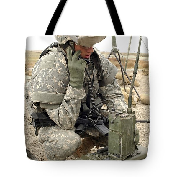 U.s. Army Soldier Performs A Radio Tote Bag by Stocktrek Images