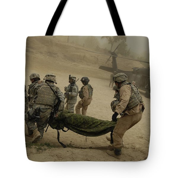 U.s. Army Soldiers Medically Evacuate Tote Bag by Stocktrek Images