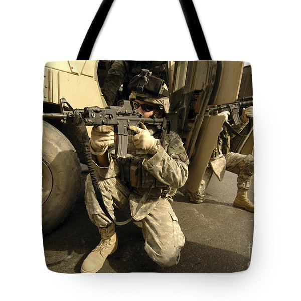 U.s. Army Soldiers Providing Overwatch Tote Bag by Stocktrek Images