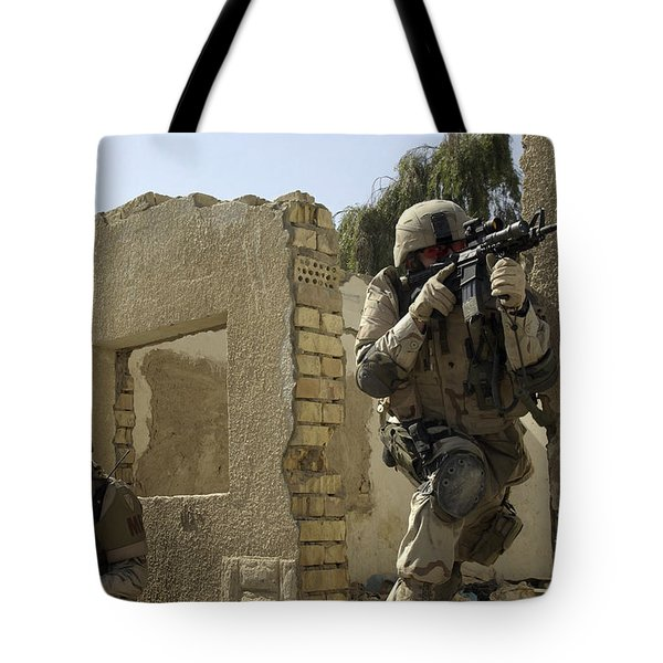 U.s. Army Soldiers Reacting To Small Tote Bag by Stocktrek Images
