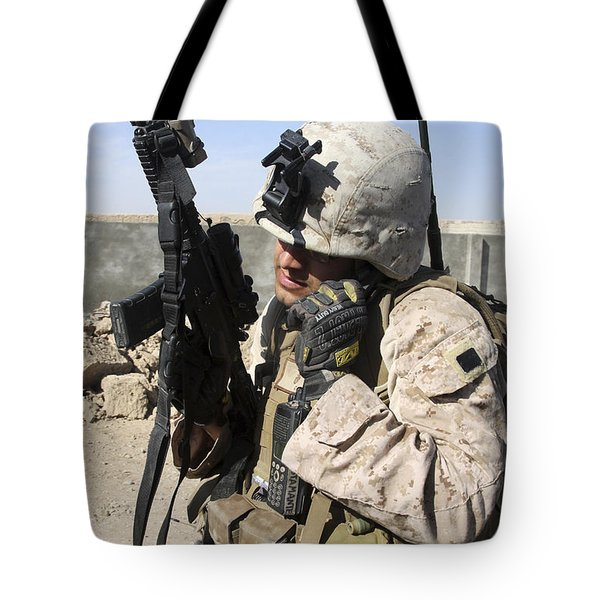 U.s. Marine Communicates With Fellow Tote Bag by Stocktrek Images
