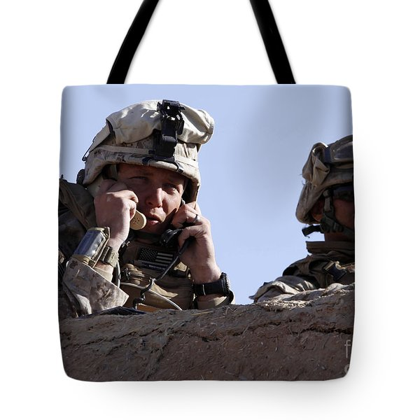 U.s. Marine Gives Directions To Units Tote Bag by Stocktrek Images