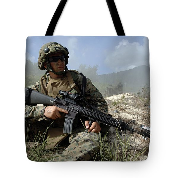 U.s. Marine Takes Part In An Amphibious Tote Bag by Stocktrek Images