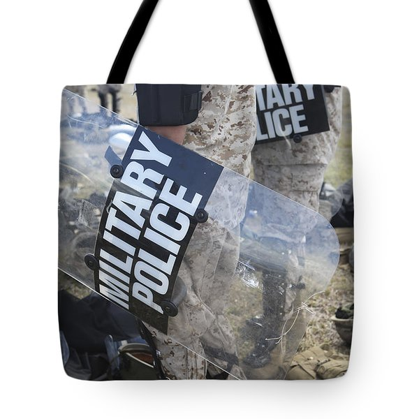 U.s. Marines And Sailors Don Riot Gear Tote Bag by Stocktrek Images