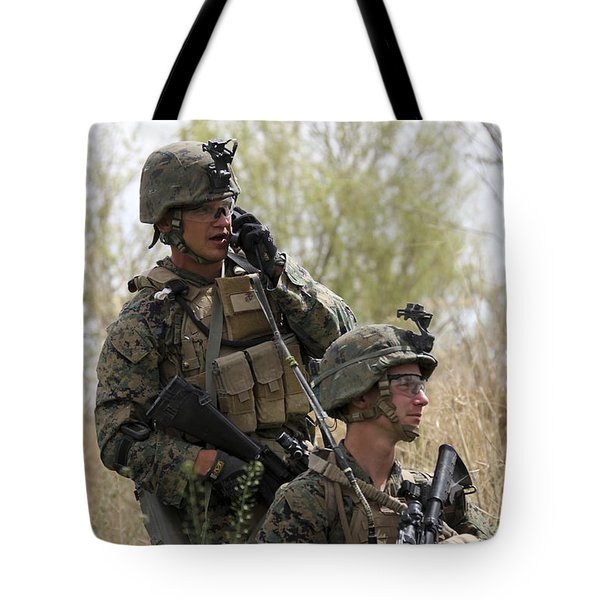 U.s. Marines Communicate Tote Bag by Stocktrek Images